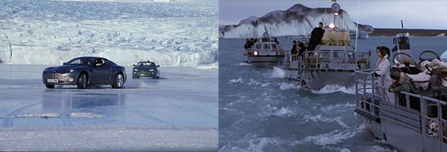 Escenas de películas rodadas en Jökullsárlón, Islandia