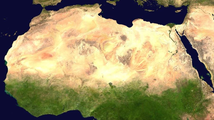 Mapa del desierto del Sahara