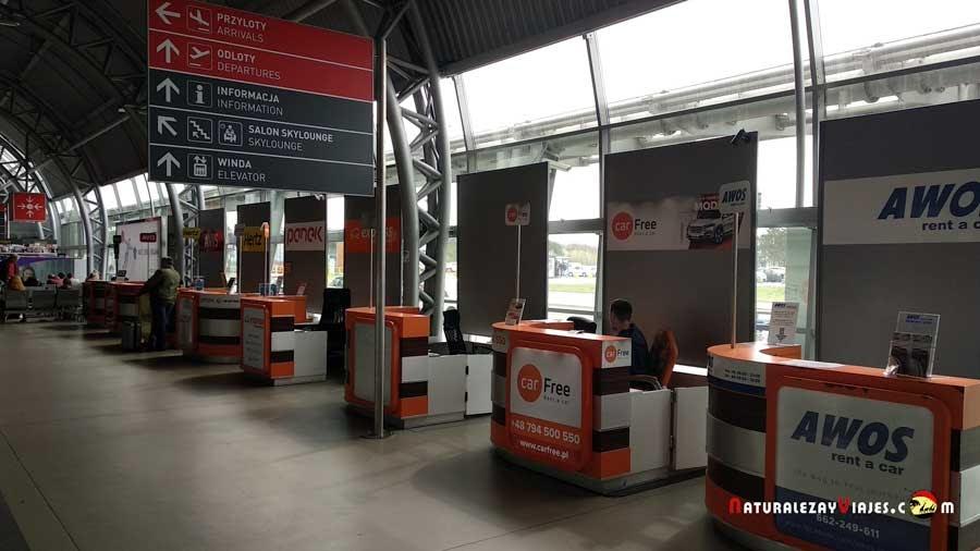 Las compañías de alquiler de coches en el aeropuerto de Varsovia