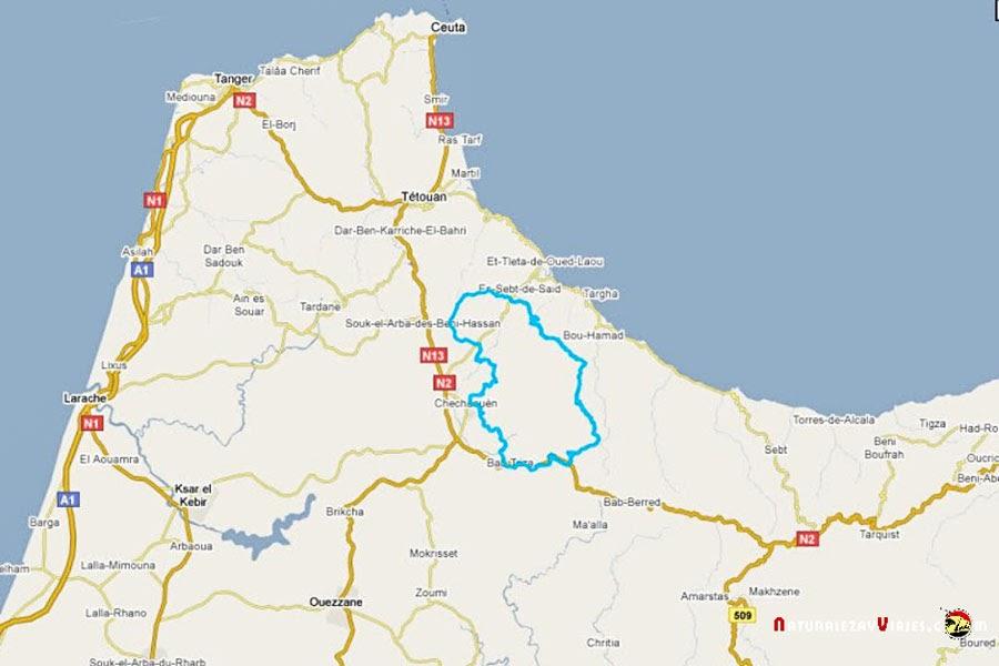 Mapa Parque Nacional Talassemtan, Marruecos